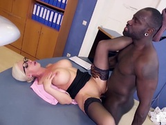 Sexy Interracial sex at the office with MILF