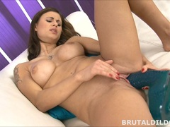 Babe Billie Star rides huge dildo before fucking the machine