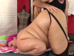 Fat Sara Star receives a sex toy massage