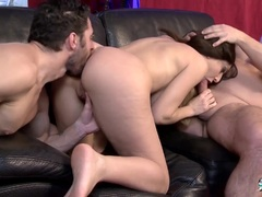 Hot Busty French babe fucked in MMF threeway