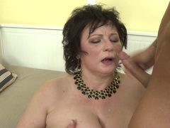 Hot mature gets cum on her face