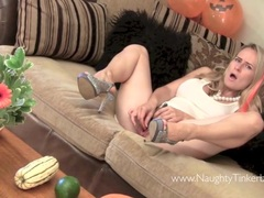 Sweet blonde orgasms with extreme insertion toys beads