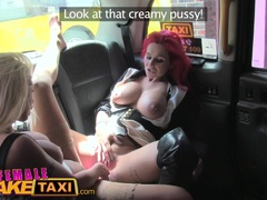 Kinky Female Fake Taxi Pussy licking and dildo fucking orgasm