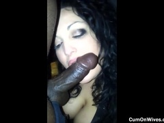 Cute lustful mom with big tits eats a hard black cock