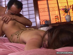 Hot Asian gags on a hairy boner after being fingered