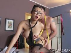 Sexy Asian big boobs Milf orgasms on big cock