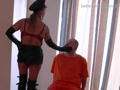 Sexy leather clad femdom in gloves fetish domination