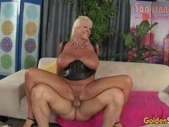 Floppy Titted Granny Fucks a Bald Guy