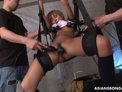 Kinky restrained hotties hairy vibrating pussy
