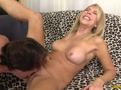 Naughty Mature blonde shows off her pussy and fucks