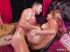 Lubed up Mercedes Carrera poked big time by big cock