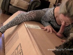 Naughty Tinkerbell finds big box with hard cock to suck fuck
