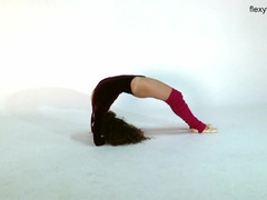 Long black haired flexible teen Anna Ocean