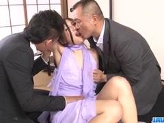 Hot office threesome along slutty Maki Takei