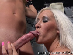 Kinky blondes dominating over a big cock and sucking