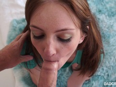 Brunette Maya Kendrick blows her stepdaddys cum