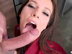 Brunette Mandy Flores takes cock deep in the asshole