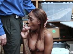 Kinky Ebony beauty Sarah Banks fucked by security gaurd