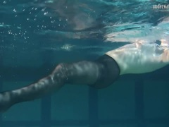Lozhkova in see through shorts underwater