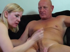 Blonde mature riding on a hard cock pole