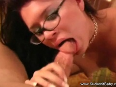 Latina With Glasses Wild Blowjob