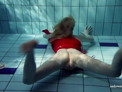 Blonde Lucie French teen in the pool