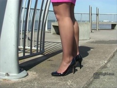 Erotic fetish tease with clacking high heels
