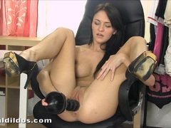 Petite Belle Claire pussy stretching with huge dildo