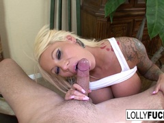 Lolly uses her blowjob skills to get a huge cumload