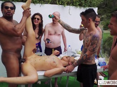 CROWD BONDAGE Outdoor BDSM sex with Russian