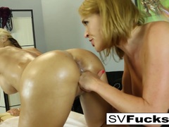 Sarah gets a sensual massage from Krissy