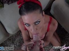 Jessica Jaymes sucking a big hard cock