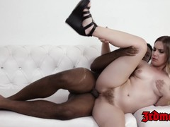 Babe Niki Snow warmed up by big black cock