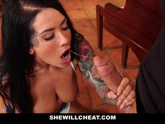Inked Wife Cheats On Old Husband With Hot Cock