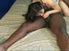 Sucking a black cockpole and she does a beautiful 69