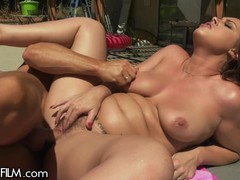 Swinging Housewife Squirts All Over Poolboy's Length