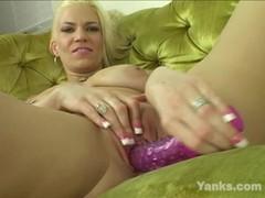 Yanks Blonde Milf Xana Star's Big Toy Masturbating