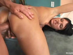 Steel Dildo Pumping Her Ass Replaced By Thick Dick
