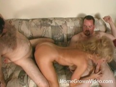 Dirty Blonde Mia Takes Two Hard Cocks Together