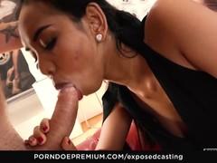 EXPOSED CASTING Asian babe enjoys hot FFM 3some