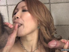 Kinky Milf sucking a cock after she gets sex toy fucked