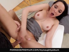 Babe Francys Belle eats cum in studio sex
