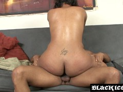 Hot Ebony bent over and fucked by bbc before tasting cum