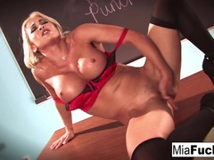 Classroom sexy solo with Mia Lelani and her big juggs