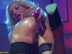 Sexy oiled Stepmom naked on stage