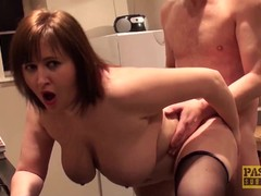 Hardfucked plumper fed with doms big cock and cum