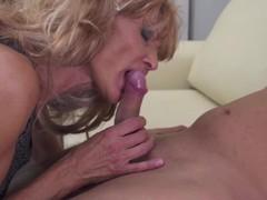 Slim blonde granny loves toyboy dick