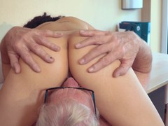 Sexy Teen Fucked by Big Cock Grandpa Cums in her mouth