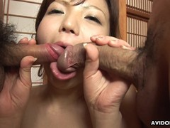 Cute Asian babe getting fucked in a group fuck