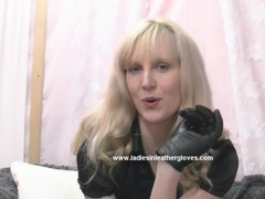 Blonde in leather gloves makes you fetish slave